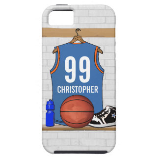 Personalized Light Blue Orange Basketball Jersey iPhone SE/5/5s Case
