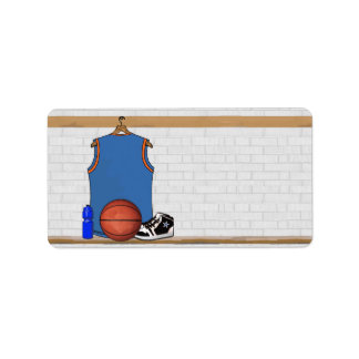Personalized Light Blue Orange Basketball Jersey Label