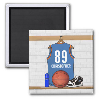Personalized Light Blue Orange Basketball Jersey Magnet