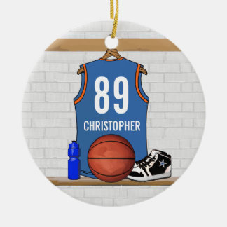 Personalized Light Blue Orange Basketball Jersey Christmas Ornament