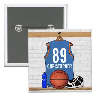Personalized Light Blue Orange Basketball Jersey Pinback Button