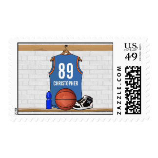 Personalized Light Blue | Orange Basketball Jersey Postage Stamps
