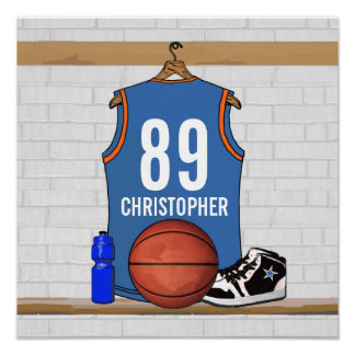 Personalized Light Blue Orange Basketball Jersey Poster