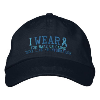Personalized Light Blue Ribbon Awareness Embroidered Baseball Cap
