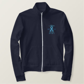 Personalized Light Blue Ribbon Awareness Embroidered Jacket