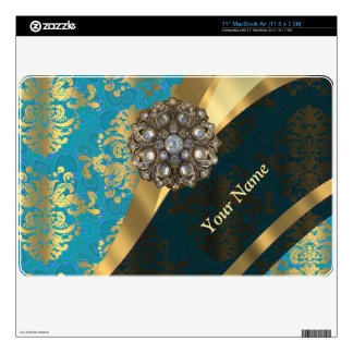Personalized light blue vintage damask pattern decals for MacBook air