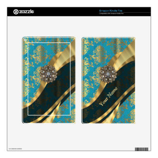 Personalized light blue vintage damask pattern decals for kindle fire