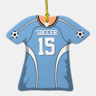 Personalized Light Blue/White Soccer Jersey 15 V1 Ornament