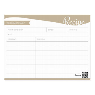 Personalized Light Brown & White Recipe Card