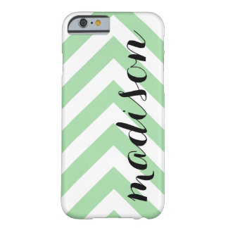 Personalized Light Green and White Arrow Chevron Barely There iPhone 6 Case