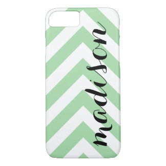 Personalized Light Green and White Arrow Chevron iPhone 7 Case