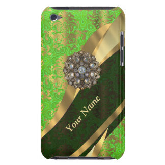 Personalized light green damask pattern barely there iPod cover