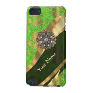 Personalized light green damask pattern iPod touch (5th generation) cover