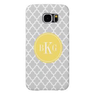 Personalized Light Grey Yellow Quatrefoil Pattern Samsung Galaxy S6 Case