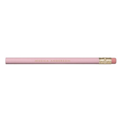 Personalized Light Pink And Gold Pencil