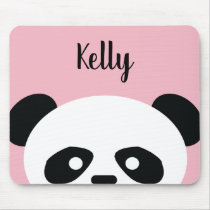 Personalized Light Pink Kawaii Panda Bear Animal Mouse Pad