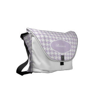 Personalized Light Purple Houndstooth Pattern Small Messenger Bag
