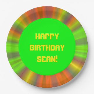 Personalized Light Show Fractal Art Birthday Paper Plate