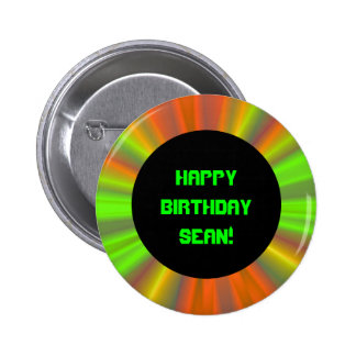 Personalized Light Show Fractal Art Birthday Pinback Button