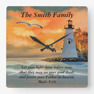 Personalized Lighthouse Seagull Bible Verse Clock