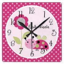 Personalized Lil Little Ladybug Nursery Clock