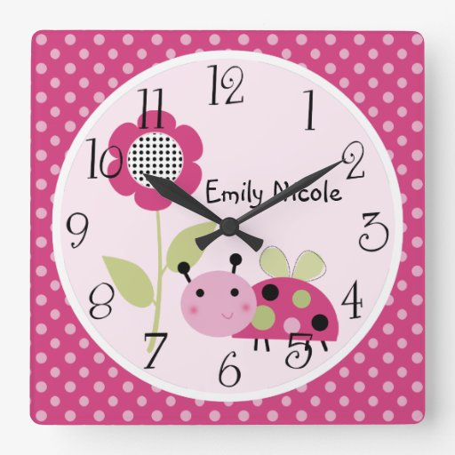 Personalized Little Ladybug Nursery Clock