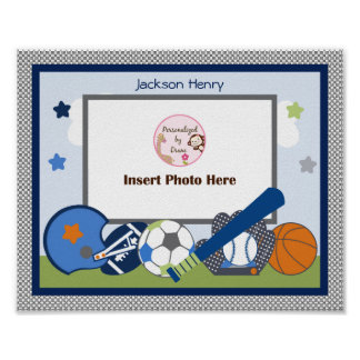 Personalized Lil/Little Sports Player Photo Art Poster