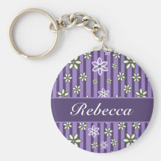 personalized Lilac Amethyst green floral pattern Keychain