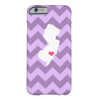 Personalized Lilac Chevron New Jersey Heart Barely There iPhone 6 Case