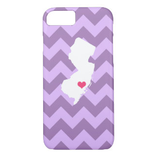Personalized Lilac Chevron New Jersey Heart iPhone 7 Case