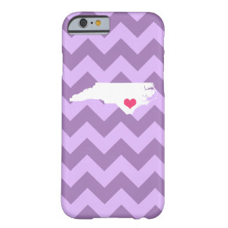 Personalized Lilac Chevron North Carolina Heart Barely There iPhone 6 Case