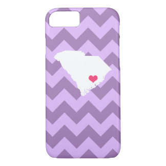 Personalized Lilac Chevron South Carolina Heart iPhone 8/7 Case