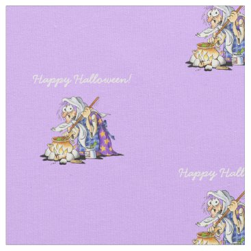 Halloween Themed Personalized Lilac Fabric Happy Halloween Witch