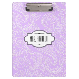 Personalized Lilac Paisley Clipboard