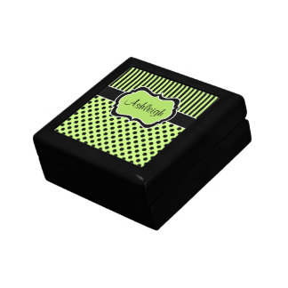 Personalized lime, Black, Polka Dots Trinket Box