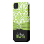 Personalized Lime, Black, White Damask iPhone 4 Case-Mate Cases