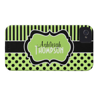 Personalized Lime, Black, White Striped Polka Dots iPhone 4 Case