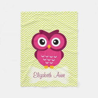 Personalized Lime Chevron Pink Owl Fleece Blanket