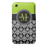 Personalized Lime Green Black Damask Case Case-Mate iPhone 3 Cases