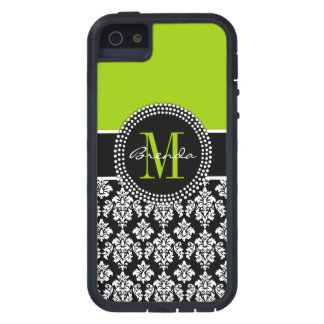 Personalized Lime Green Black Damask Case