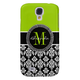 Personalized Lime Green Black Damask Case Samsung Galaxy S4 Cover