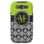 Personalized Lime Green Black Damask Case Samsung Galaxy SIII Case