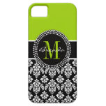 Personalized Lime Green Black Damask Case iPhone 5 Cases