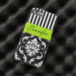 PERSONALIZED LIME GREEN, BLACK DAMASK STRIPED TOUGH iPhone 6 CASE