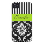 PERSONALIZED LIME GREEN, BLACK DAMASK STRIPED Case-Mate iPhone 4 CASES