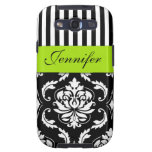 PERSONALIZED LIME GREEN, BLACK DAMASK STRIPED GALAXY SIII CASE