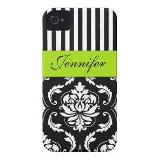 PERSONALIZED LIME GREEN, BLACK DAMASK STRIPED iPhone 4 Case-Mate CASE