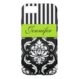PERSONALIZED LIME GREEN, BLACK DAMASK STRIPED iPhone 8/7 CASE