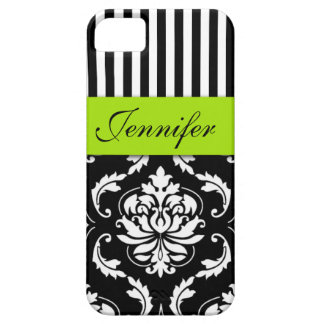 PERSONALIZED LIME GREEN, BLACK DAMASK STRIPED iPhone SE/5/5s CASE