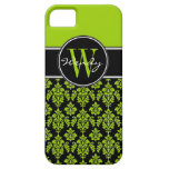 Personalized Lime Green Black Vintage Damask iPhone 5 Cases